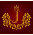 Patterned golden letter J monogram in vintage vector image