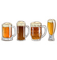 set of mugs of beer vector image