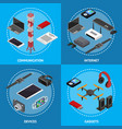 technology devices poster card set isometric view vector image