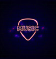 Neon music shop sign glowing guitar shop emblem vector image