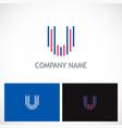 letter u line colored logo vector image