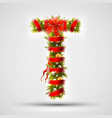 christmas font letter t of christmas tree vector image
