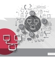 Paper and hand drawn server emblem with icons vector image vector image