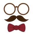 round frame mustache bowtie vector image
