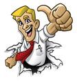 cartoon man thumb up vector image