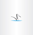 duck in water logo sign element vector image