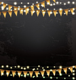 Empty Christmas Template with Neon Garlands vector image