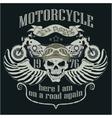 Motorcycle Design Template Logo Skull rider - vector image