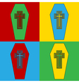 Pop art coffin icons vector image