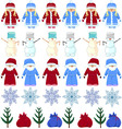 pattern Christmas Santa Claus snow maiden snowman vector image