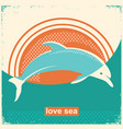 dolphin jumping in sea vintage on vector image vector image