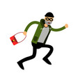 Robber character running with red female bag vector image