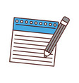 notebook sheet with pencil vector image