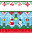 abstract christmas card in embroidery style vector image vector image