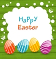 Holiday Card with Easter Colorful Eggs vector image vector image