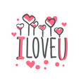 i love u logo template colorful hand drawn vector image