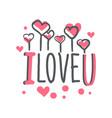 i love u logo template colorful hand drawn vector image