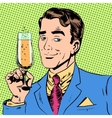 man with a glass of champagne date holiday toast vector image