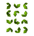 set of different 3d arrows green color vector image