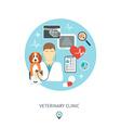 Veterinary flat set Veterinary banner background vector image