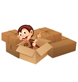 A smiling monkey and boxes vector image vector image