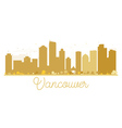 Vancouver City skyline golden silhouette vector image
