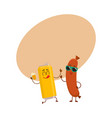 funny beer can and frankfurter sausage characters vector image