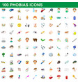 100 phobias icons set cartoon style vector image vector image