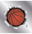 basketball thru metal sheet vector image