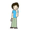 comic cartoon boy wondering vector image