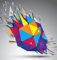 3d low poly object with connected lines and dots vector image vector image