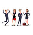business people teamwork cartoon character vector image