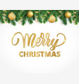 greeting card with fir tree garland ornaments and vector image