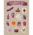 Set of halloween icons sticker vector image