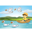 Ducks and a kid vector image vector image