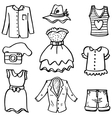 Doodle of women fashion clothes hand draw vector image