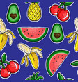 pattern of fruits embroidery patch vector image