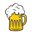 Overflowing tankard of frothy beer vector image