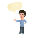 cartoon pointing man with speech bubble vector image