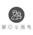 couple line icon users or teamwork sign vector image