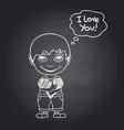 hand draw romantic boy on black chalkboard vector image