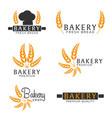 set of bakery shop emblem labels logo and design vector image