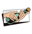 Style of pop art Hands with a bottle vector image