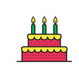 sweet cake for birthday holiday icon vector image