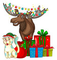 Christmas theme with reindeer and cat vector image vector image
