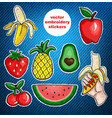 set of fruits embroidery patch on jeans background vector image