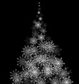 Christmas tree made of snowflakes blizzard in the vector image