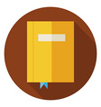 Flat Book with Bookmark Circle Icon with Long vector image