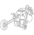 outlined santa with motorcycle vector image vector image