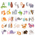 cute zoo alphabet with cartoon animals isolated on vector image